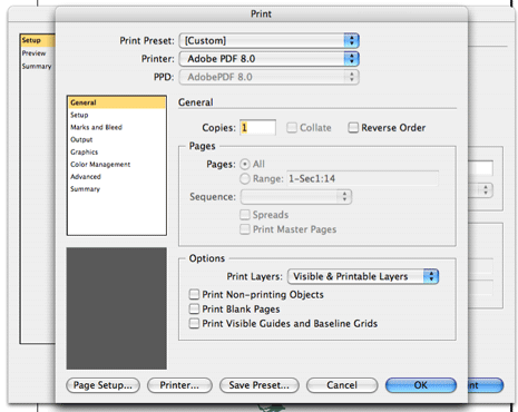 InDesign Print dialog box