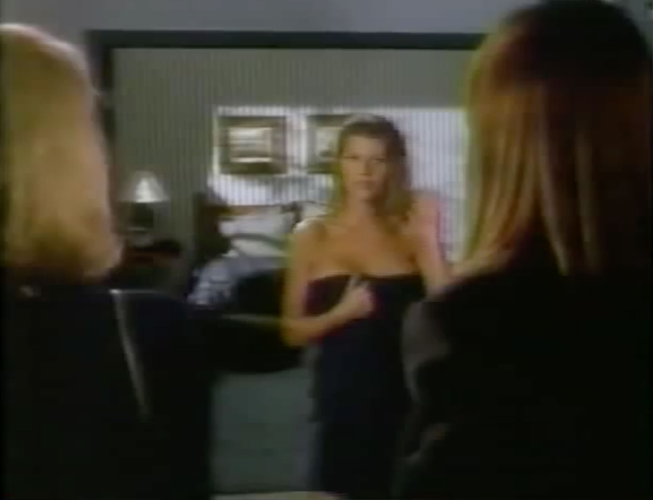 Front view of the character Monica pretending to be Bunny to fool Reese on Savannah, the Aaron Spelling series.