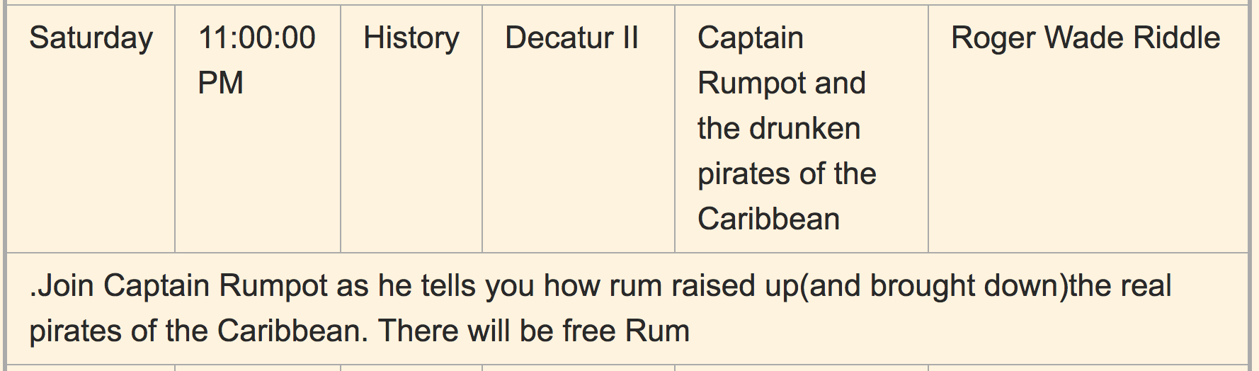 The line item for Captain Rumpot's panel from the 2017 schedule.