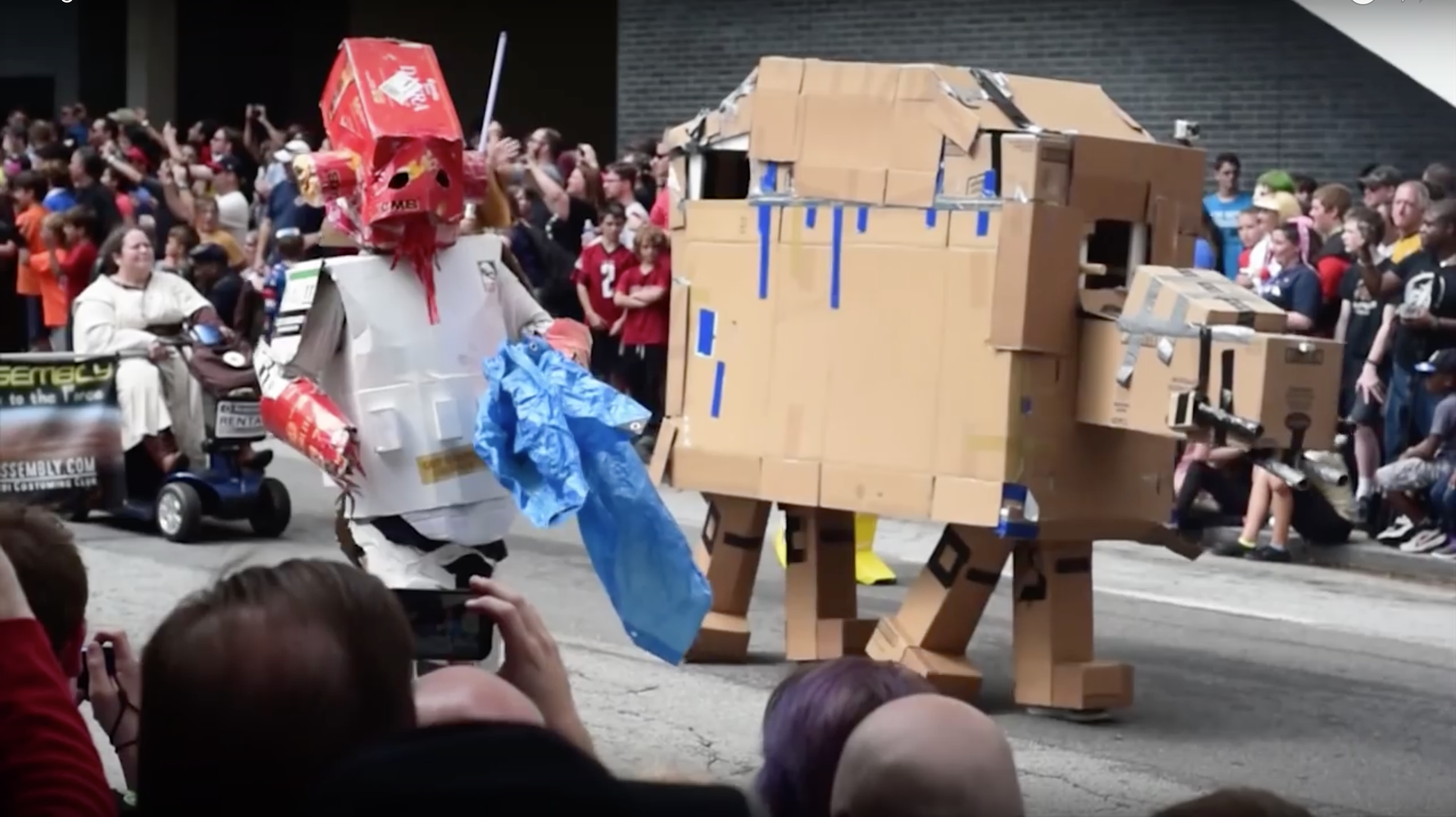 Admiral Ackbox and a cardboard AT-AT