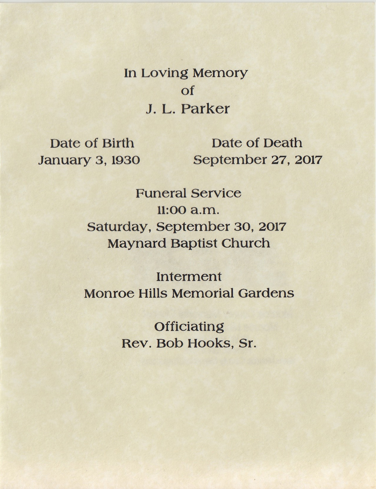 Inside page from the program from JL Parker's funeral