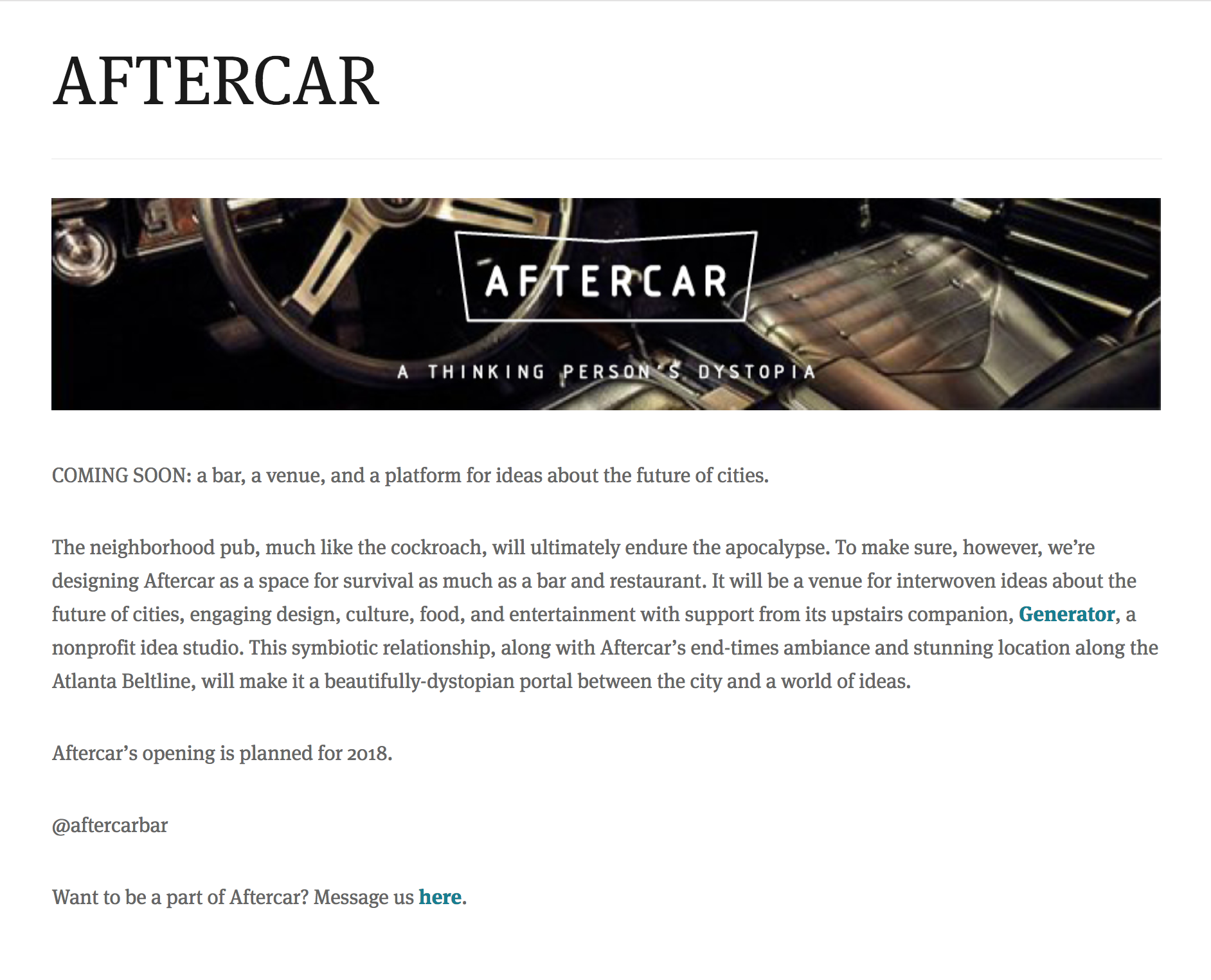 Aftercar: A Thinking Person's Dystopia