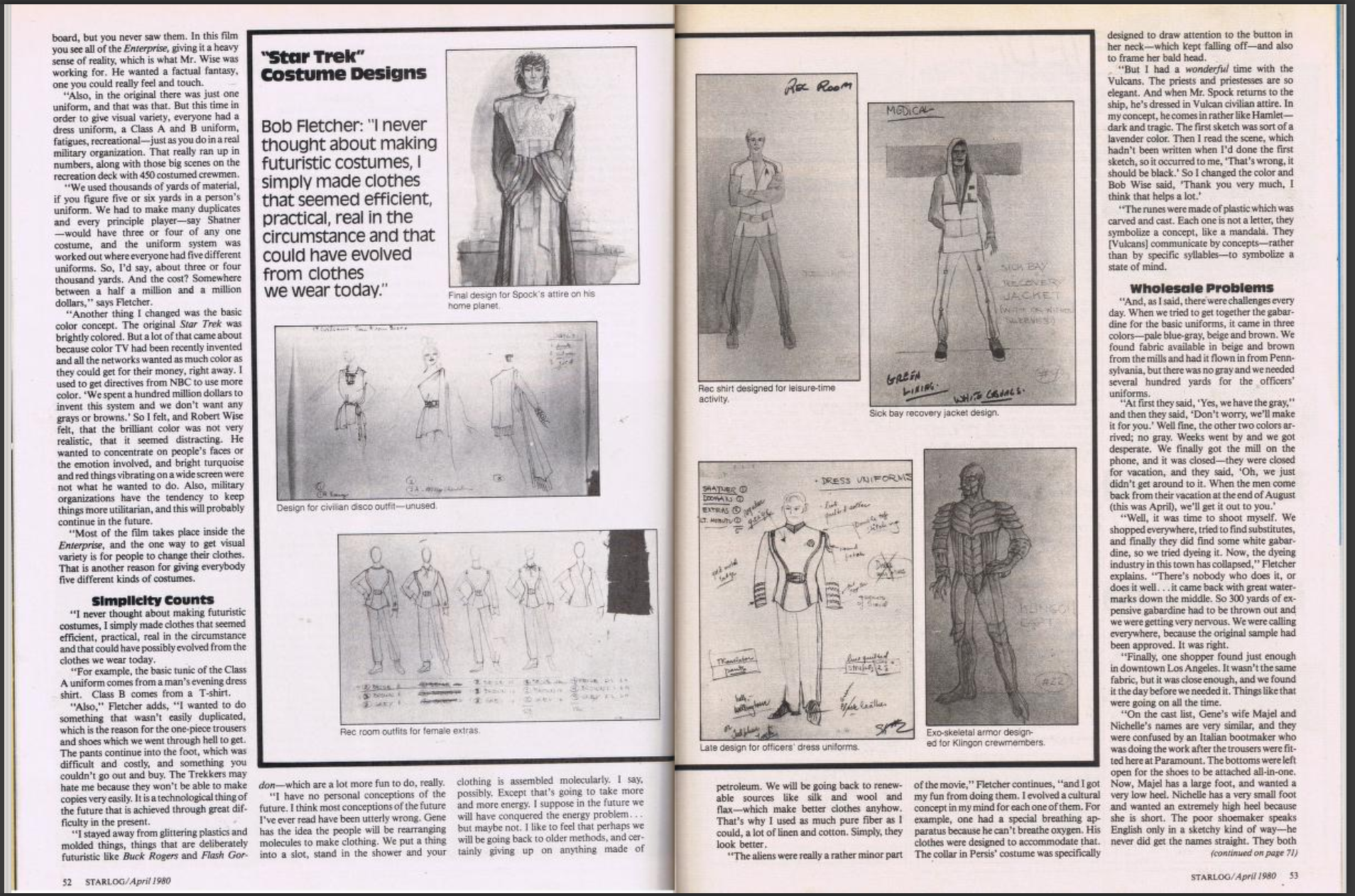 Double page spread of article The Star Trek Aliens from Starlog Magazine, Issue 33, pages 52-53