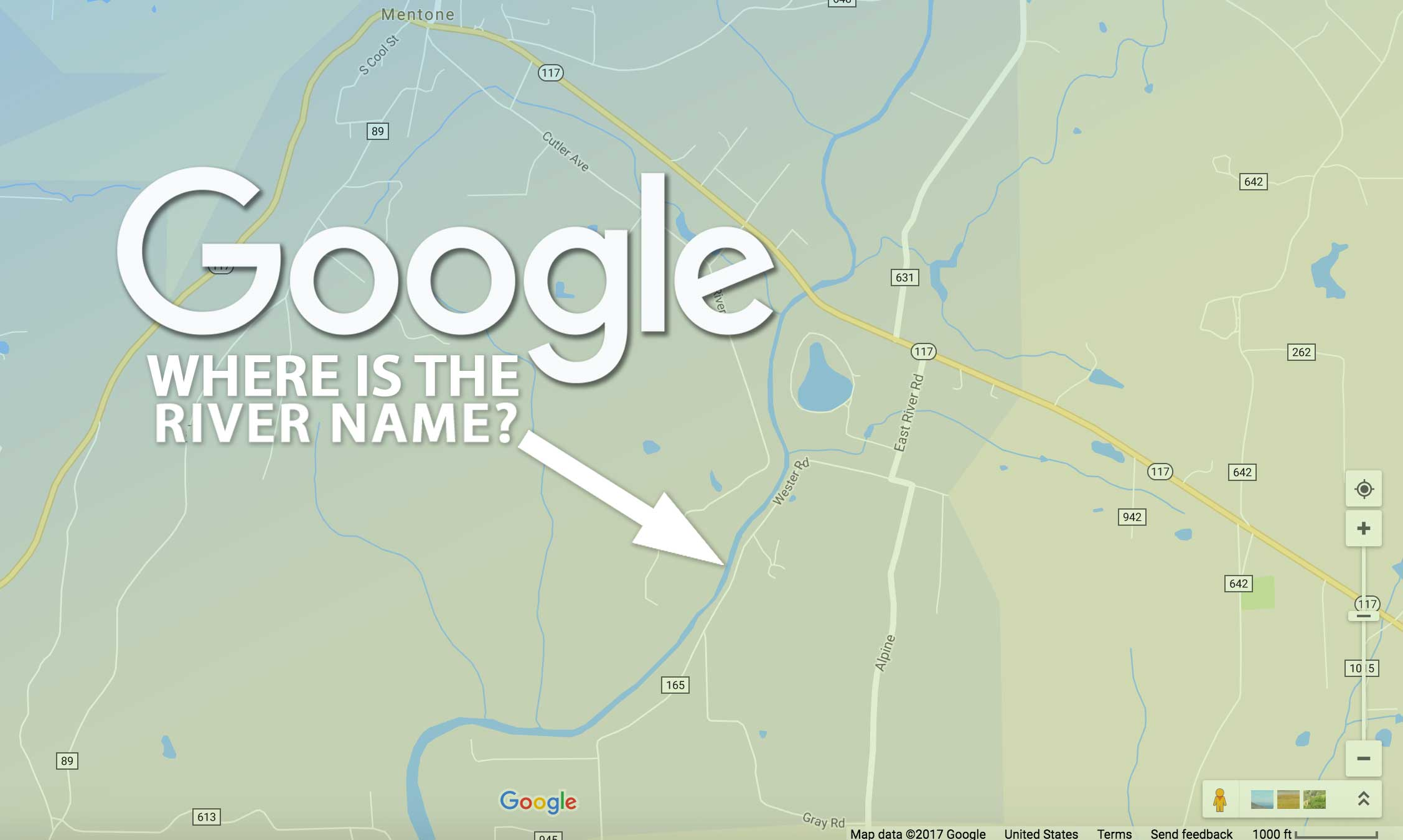 Google Maps is bad at naming rivers