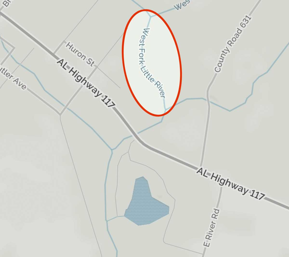 Enlargement of MapQuest map showing river name