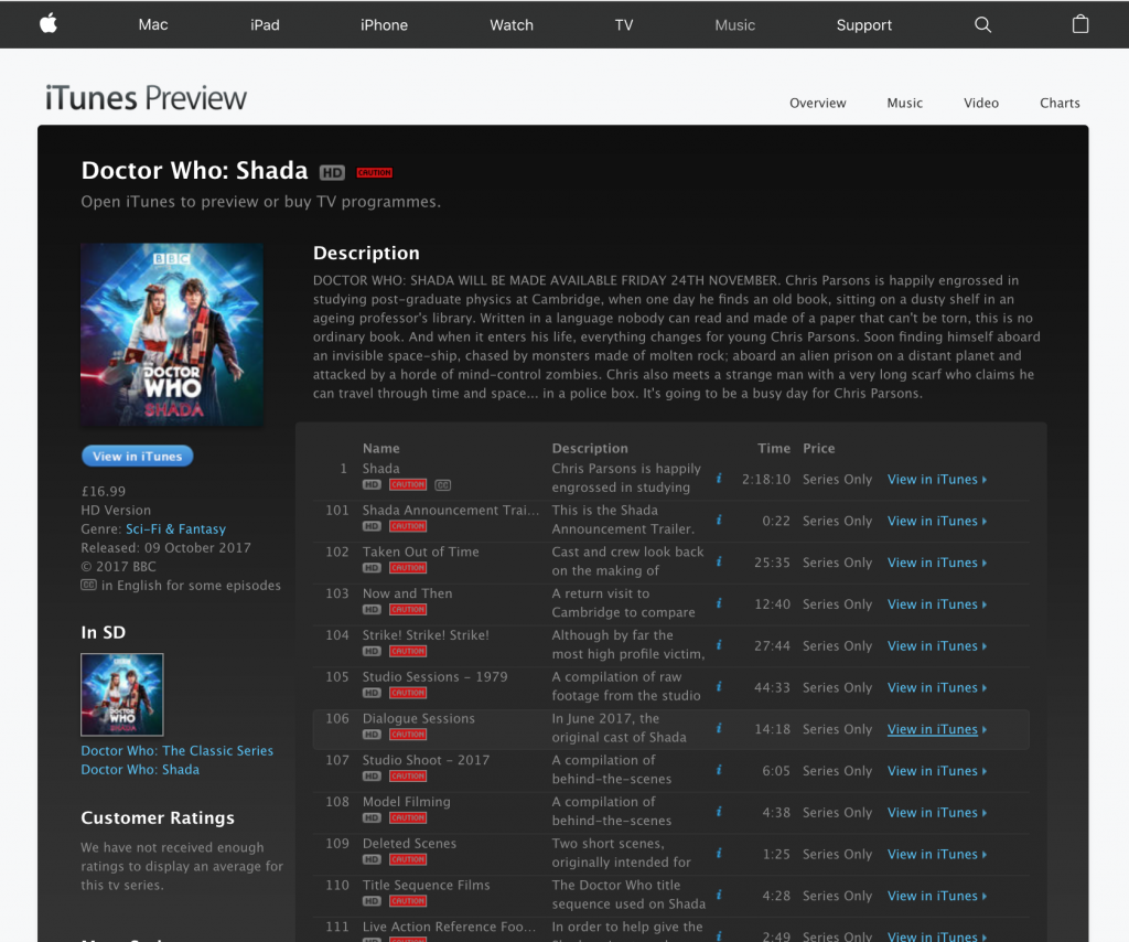 """iTunes preview page for """"doctor who shada"""" in web browser"""