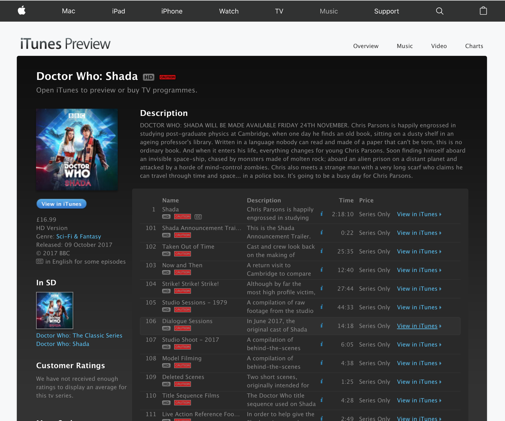 "iTunes preview page for ""doctor who shada"" in web browser"