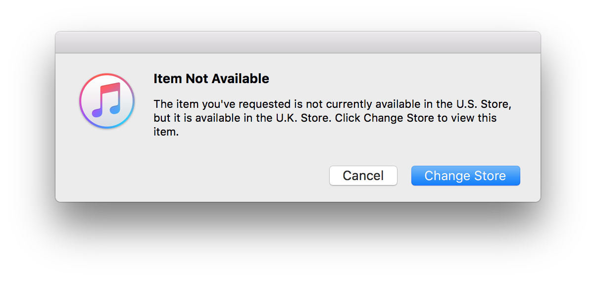 The item you've requested is not currently available in the U.S. Store, but it is available in the U.K. Store. Click Change Store to view this item.