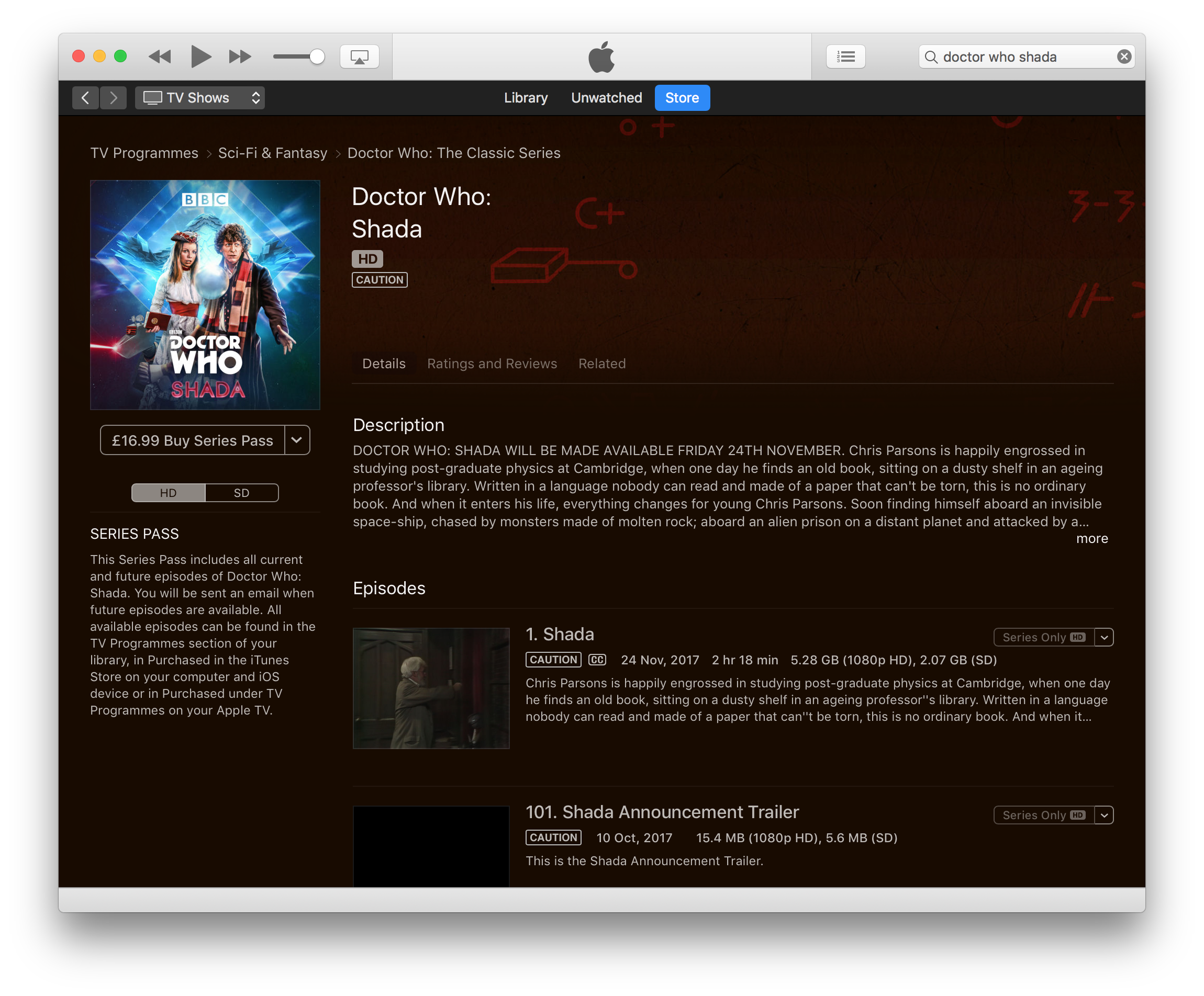 Doctor Who Shada on the iTunes UK store.