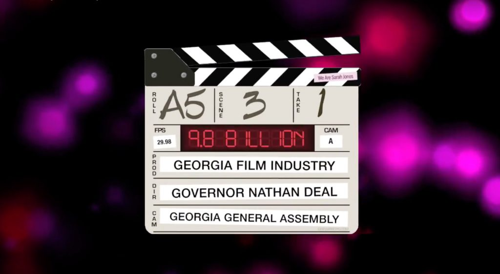 Film Clapper thanking Governor Deal