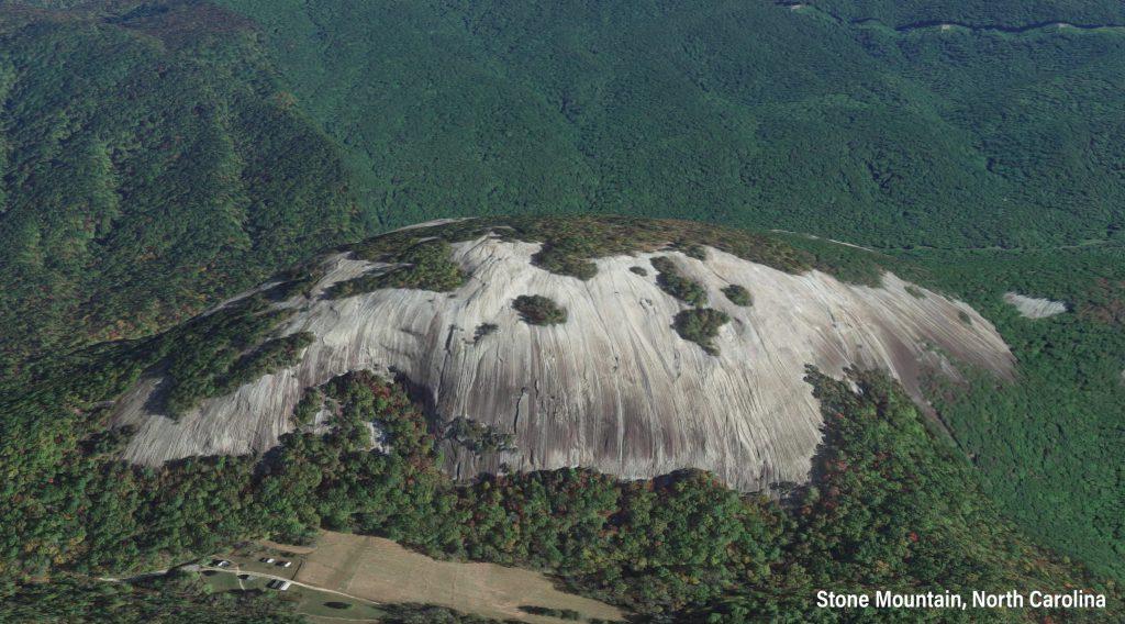 Aerial of North Carolina's Stone Mountain