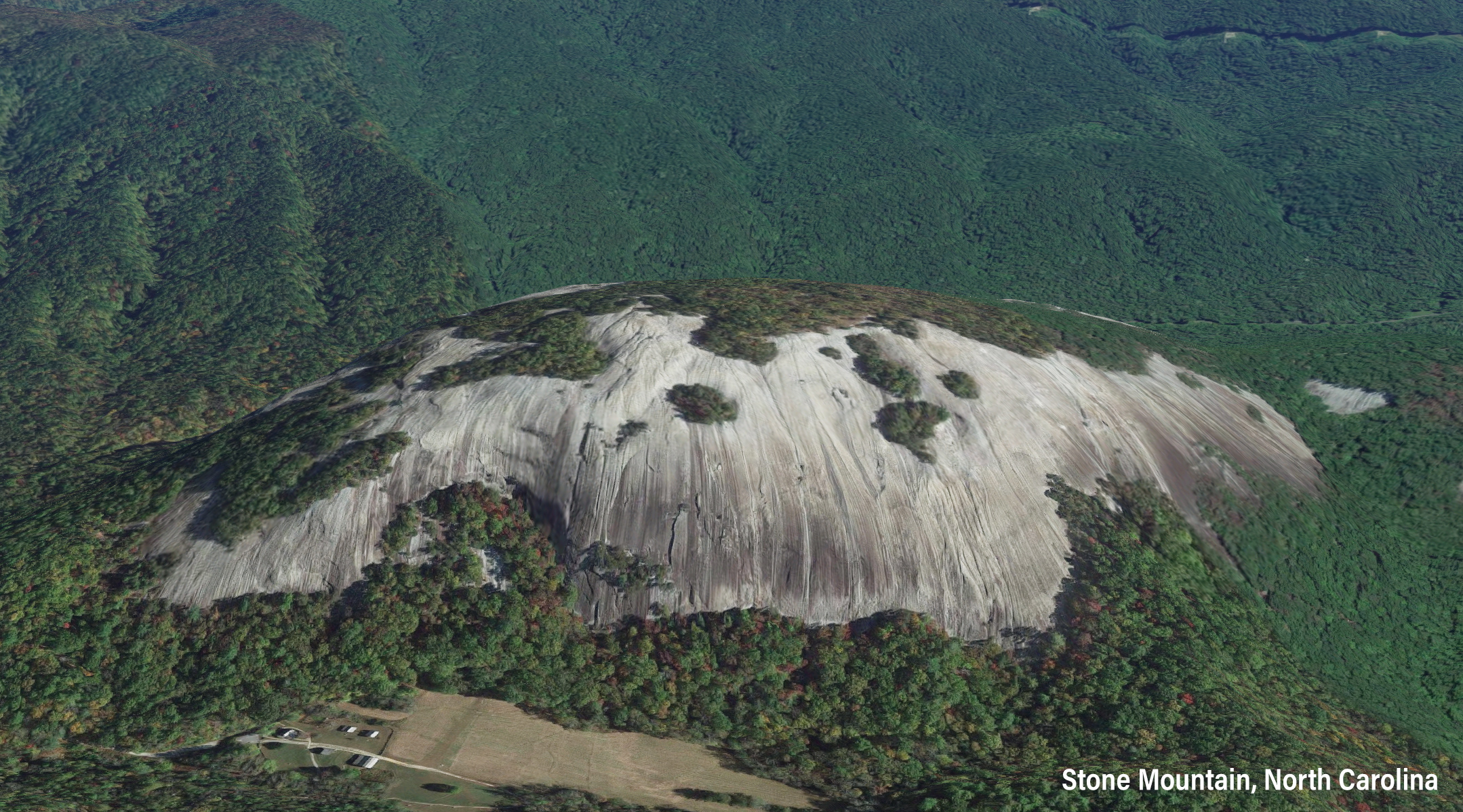 Aerial of North Carolina's Stone Mountain