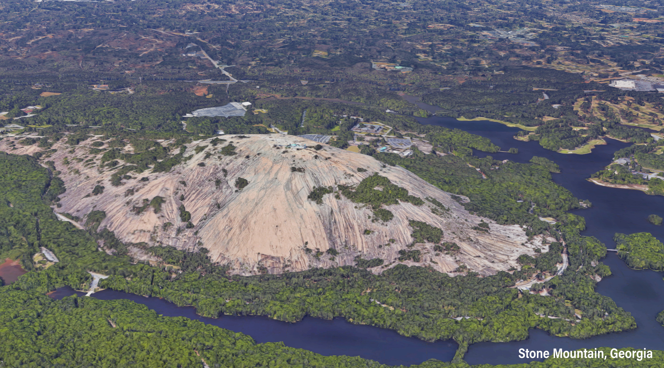 Aerial of Georgia's Stone Mountain