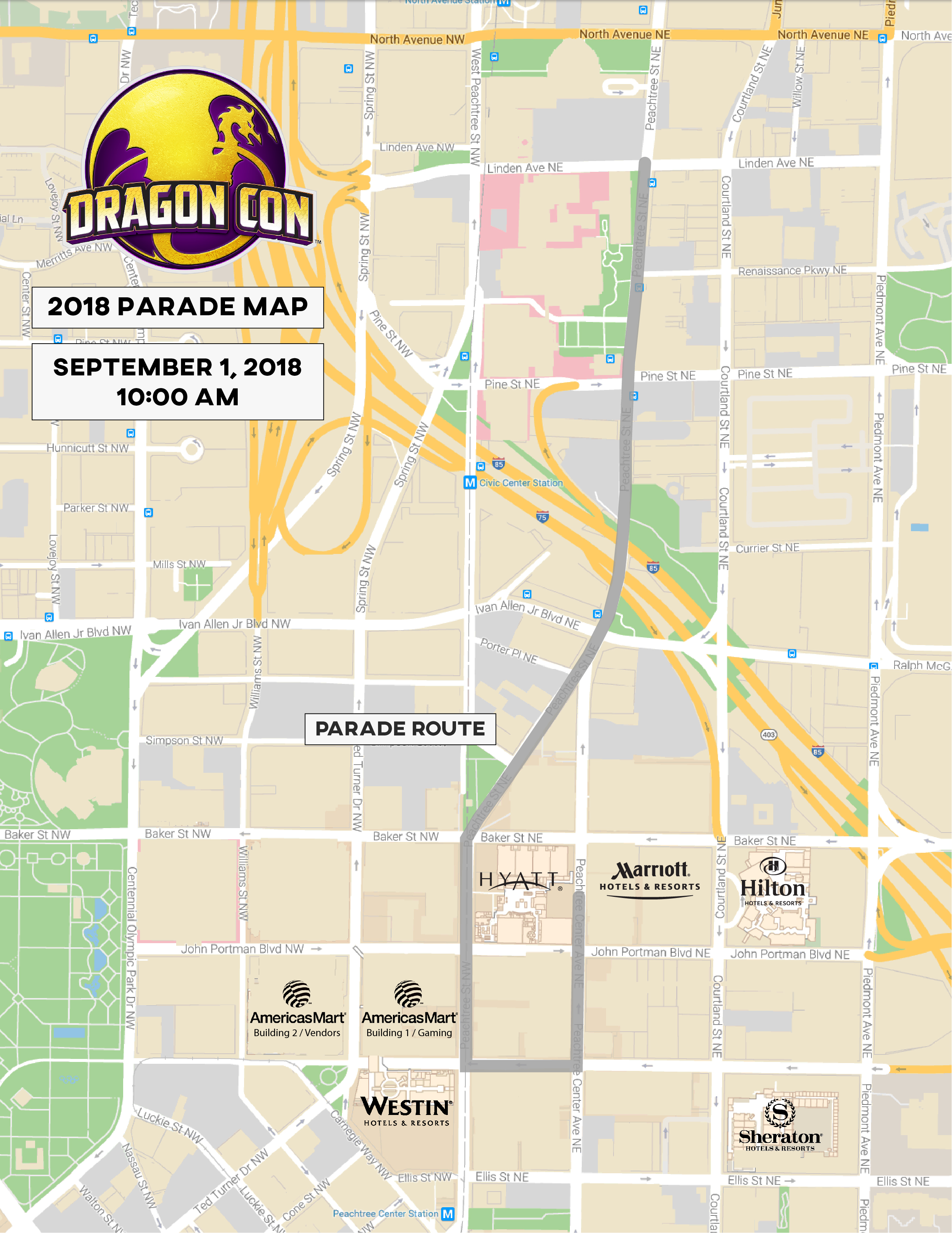 2018 Dragon Con Parade Route
