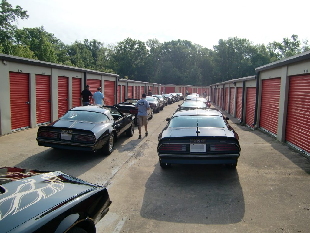 The Bandit Run cars parked in a storage lot
