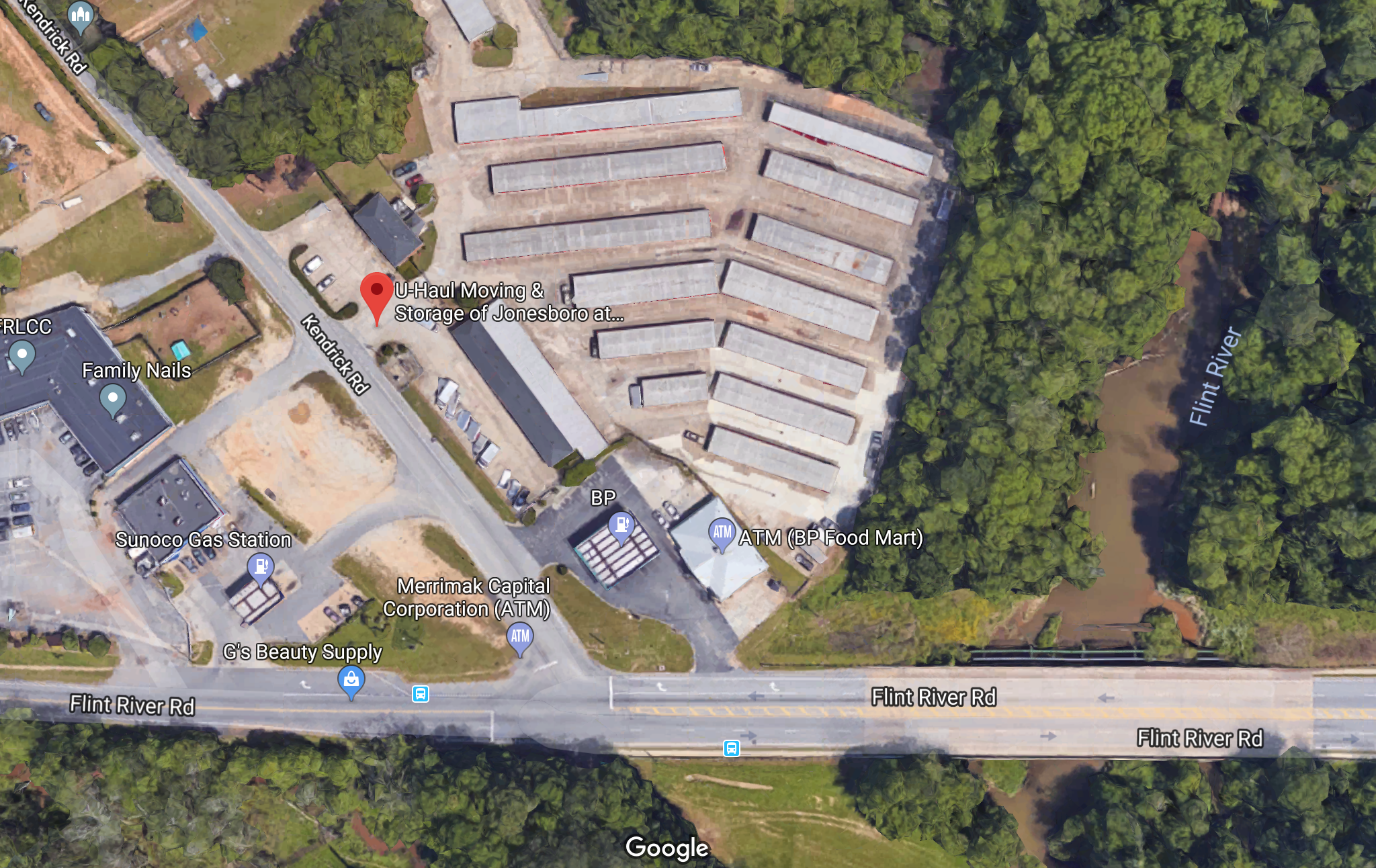 Google Maps view of the storage business