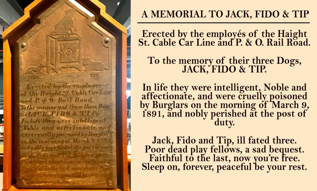 Historic marker for Jack, Fido, and Tip