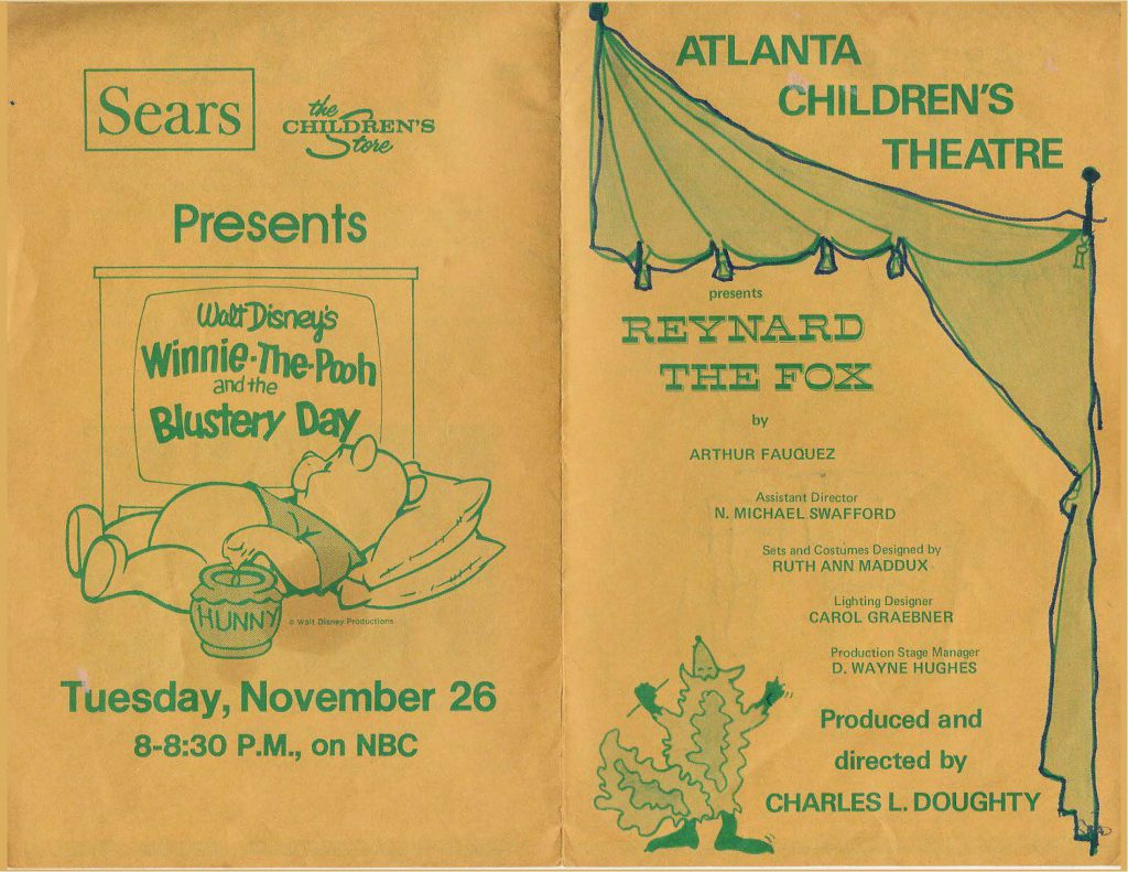 Front and Back covers of a simple program for the Atlanta Children's Theatre performance of Reynard the Fox.