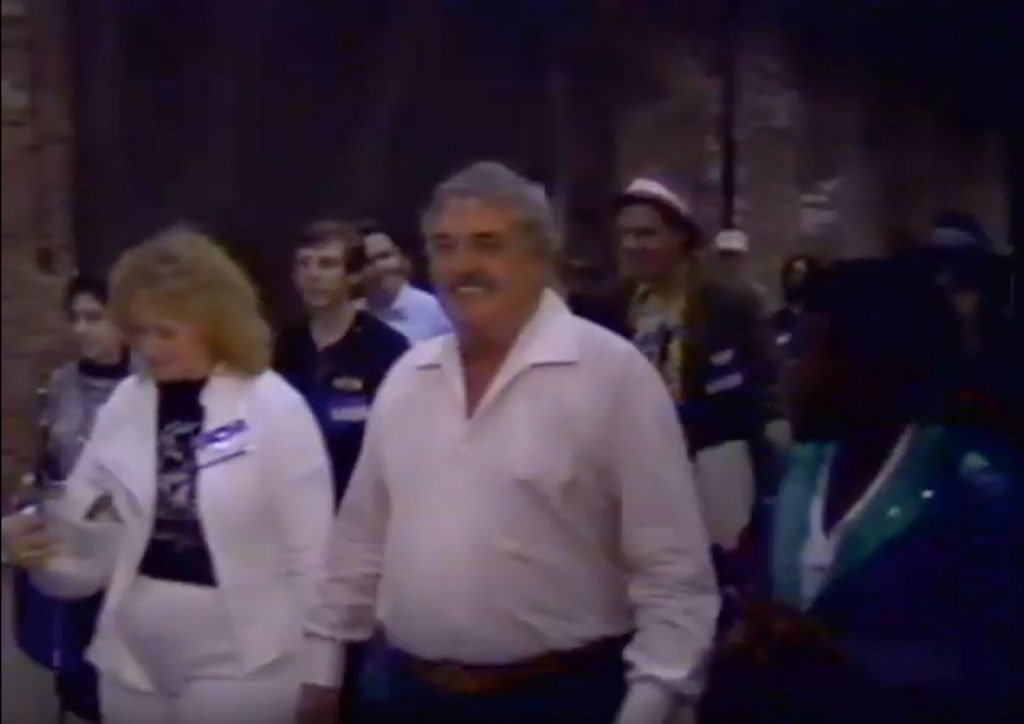 Actor James Doohan walking through crowds at Magnum Opus Con